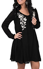 Rock and Roll Cowgirl Women's Floral Embroidered Dress