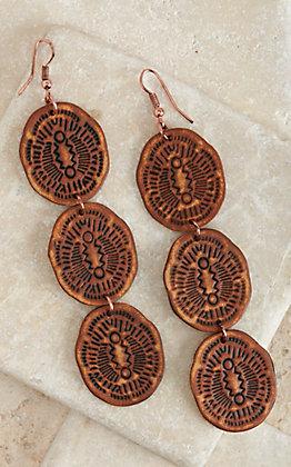 Blazin Roxx Stamped Leather Three Tier Dangle Earrings