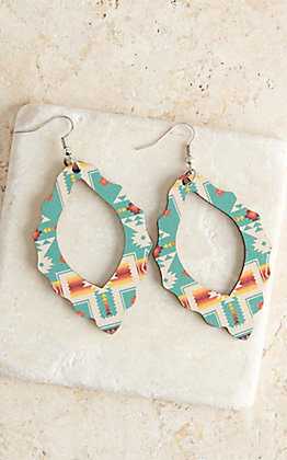 Silver Strike Turquoise Aztec Pattern Wood Open Teardrop Earrings