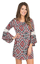Rock & Roll Cowgirl Women's Red, Blue, Turquoise and Cream Aztec Print Bell Sleeve Dress