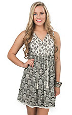 Rock & Roll Cowgirl Women's Black & Cream Mixed Print Sleeveless Dress