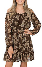 Rock and Roll Cowgirl Women's Brown Floral Print Dress