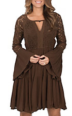 Rock & Roll Cowgirl Women's Brown with Lace Long Bell Sleeves Dress