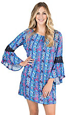 Rock & Roll Cowgirl Women's Navy, Black, and Teal Geometric Print Long Bell Sleeve Shift Dress