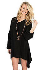 Rock & Roll Cowgirl Women's Black with Crochet Details and Long Cinched Sleeves Peasant Dress