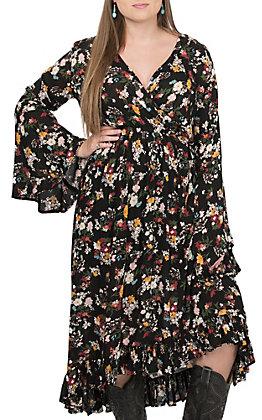 Rock & Roll Cowgirl Women's Black Floral V-Neck Hi-Lo Dress