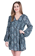 Rock & Roll Cowgirl Women's Navy and White Paisley Print Long Sleeve Dress