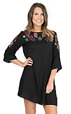 Rock & Roll Cowgirl Women's Black with Bright Tribal Embroidered Yokes 3/4 Sleeve Dress