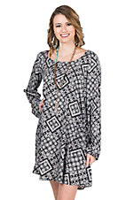 Rock & Roll Cowgirl Women's Black and WhitePaisley Print with Open Back Long Sleeve Dress