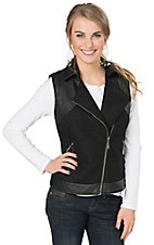 Montanaco Women's Black Wool with Faux Leather Vest