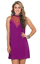 Rock & Roll Cowgirl Women's Purple with Coral Embroidery High Neck Sleeveless Shift Dress