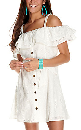 Rock & Roll Cowgirl Women's White Eyelet Ruffle Button Down Off the Shoulder Dress