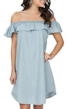 Rock & Roll Cowgirl Women's Chambray Off the Shoulder Dress
