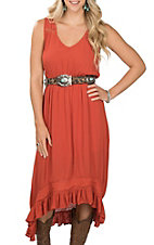 Rock and Roll Cowgirl V-Neck Lace Trim Dress