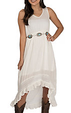 Rock & Roll Cowgirl Women's White Hi-Lo Sleevless Dress