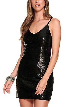 Rock & Roll Cowgirl Women's Black Sequin Tank Dress
