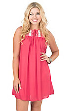 Rock & Roll Cowgirl Women's Red with Lace and Aztec Design Yokes Sleeveless Dress