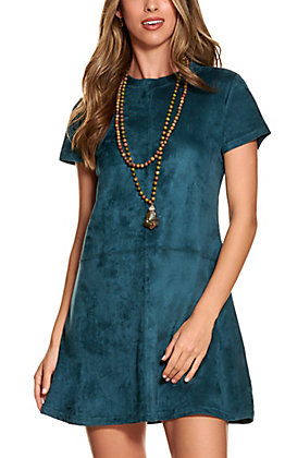 Rock & Roll Cowgirl Women's Teal Faux Suede Short Sleeve Dress