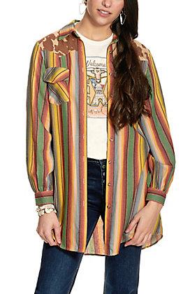 Fashion Express Women's Earth-Tone Serape Stripe with Cow Print Top