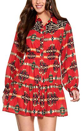 Fashion Express Women's Red Aztec Print with Leopard Yoke Ruffle Dress
