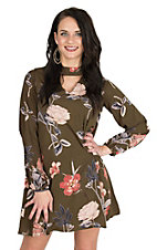 Peach Love Women's Olive Floral Print Long Sleeve Dress