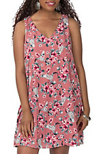 Peach Love Women's Mauve Skull Floral Dress