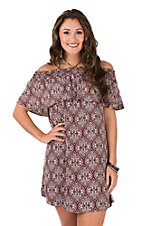 Peach Love Women's Maroon & White Ruffled Smock Dress