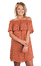Peach Love Women's Orange & Black Ruffled Smock Dress