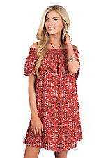 Peach Love Women's Red & Black Ruffled Smock Dress