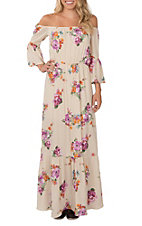 Peach Love Women's Cream with Multi-Floral Print Off the Shoulder Maxi Dress