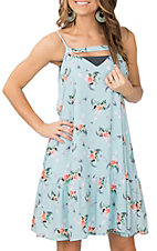 Berry N Cream Women's Light Blue Skull Print Spaghetti Strap Dress