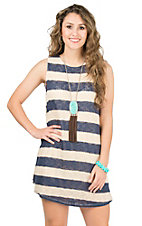 PPLA Women's Navy and Cream Stripe Sleeveless Dress