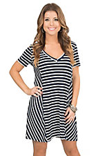 PPLA Women's Navy and White Stripe T-Shirt Dress