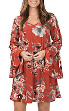 Peach Love Women's Rust and Grey Floral Dress