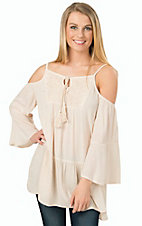 PPLA Women's Natural Zeppelin Cold Shoulder Tunic Top and Dress