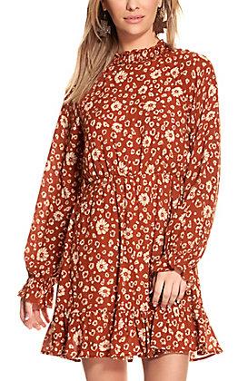 Peach Love Women's Rust Floral Leopard Print Long Sleeve Dress