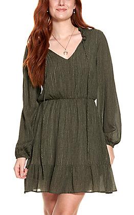 Peach Love Women's Charcoal Long Sleeve Dress