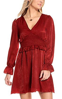 Peach Love Women's Red Satin Long Sleeve Dress
