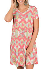 James C Women's Multicolored Aztec Print Short Sleeve Dress