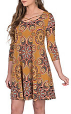 James C Women's Mustard Paisley Medallion Print Criss Cross Neck 3/4 Sleeve Dress