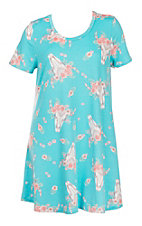 James C Women's Turquoise Cow Skull Print Dress - Plus Size