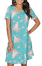 James C Women's Turquoise Cow Skull Print Dress