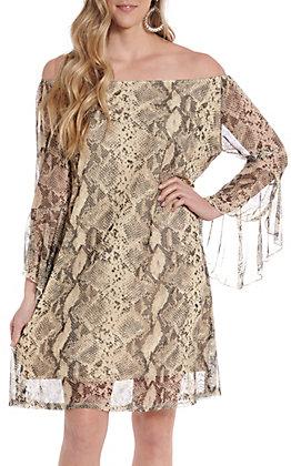 Honey Me Women's Mesh Snake Print Bell Sleeve Dress