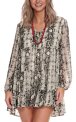 Berry N Cream Women's Cream Snake Print Long Sleeve Dress