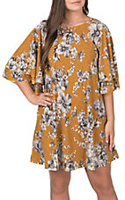 James C Women's Mustard with Grey Floral Print Ruffle Sleeves Dress