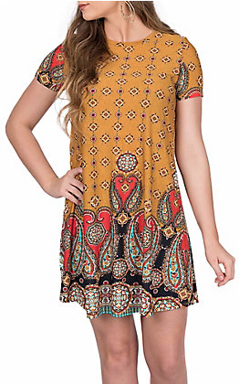 James C Women's Mustard with Paisley Border Print Short Sleeve Dress