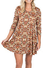 James C Women's Multicolored Print 3/4 Sleeve Dress