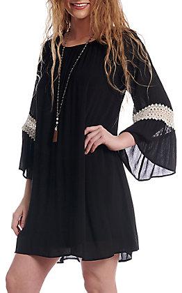 Honey Me Women's Black 3/4 Bell Sleeve Dress