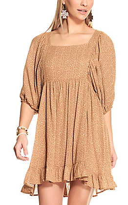 Peach Love Women's Leopard Print 3/4 Sleeve Dress