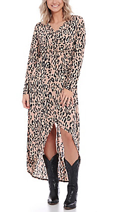 James C Women's Mauve Leopard Print Hi-Lo Dress
